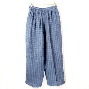 Eskandar Blue Wide Leg Crop Pants
